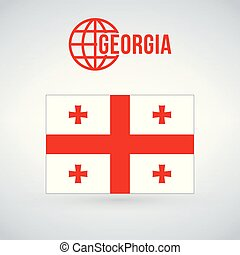 Flag of Georgia. vector illustration isolated on modern background with shadow.