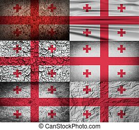 Flag of Georgia with old texture. Vector