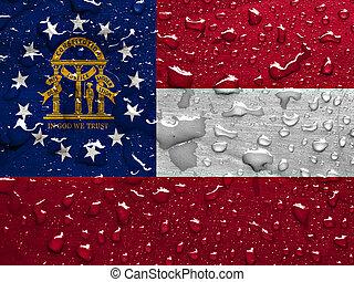 flag of Georgia with rain drops