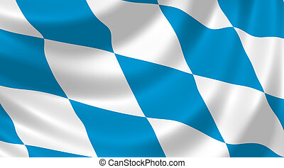 Flag of German Bavaria state waving in the wind detail
