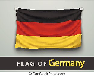 FLAG OF germany battered, hung on the wall