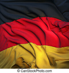Flag of Germany, fluttering in the breeze, backlit rising...