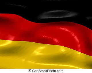 Flag of Germany. Glossy appearance with detailed textile...