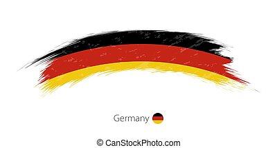 Flag of Germany in rounded grunge brush stroke.