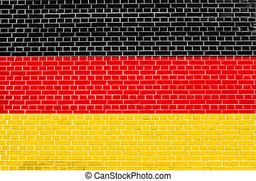 Flag of Germany on brick wall texture background