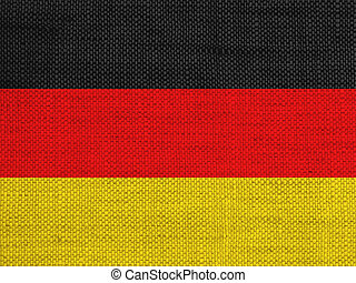 Flag of Germany on old linen