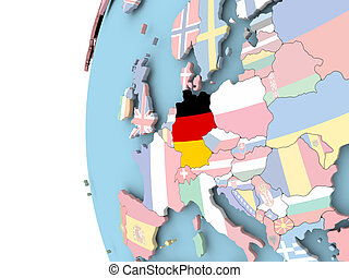 Flag of Germany on political globe