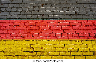 Flag of Germany painted on brick wall