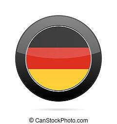 Flag of Germany. Shiny black round button.