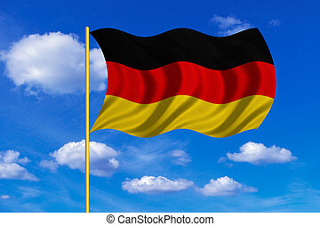 Flag of Germany waving on blue sky background