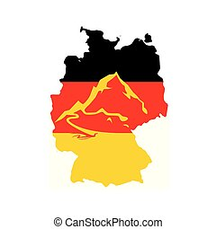 Flag of Germany with Caption - German Alps