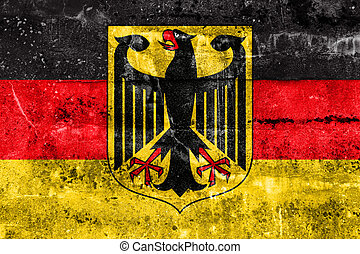 Flag of Germany with Coat of Arms, painted on dirty wall