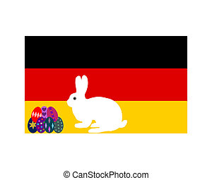 Flag of Germany with easter bunny and easter eggs