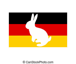 Flag of Germany with easter bunny
