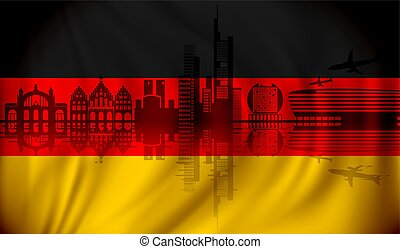 Flag of Germany with Frankfurt skyline