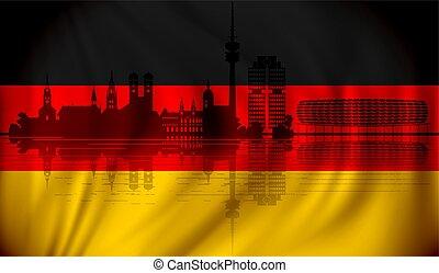 Flag of Germany with Munich skyline