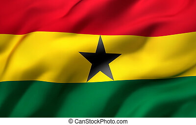 Flag of Ghana blowing in the wind