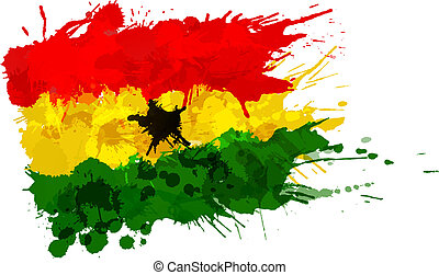 Flag of Ghana made of colorful splashes