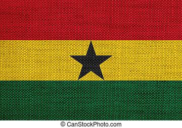 Flag of Ghana on old linen
