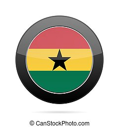 Flag of Ghana. Shiny black round button.