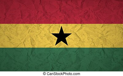 Flag of Ghana with the effect of crumpled paper and grunge -...