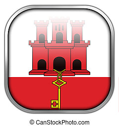 Flag of Gibraltar, square glossy button