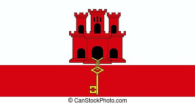 Flag of Gibraltar. Vector illustration. World flag