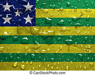 flag of Goias with rain drops