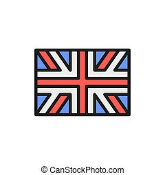 Flag of Great Britain, England flat color line icon.