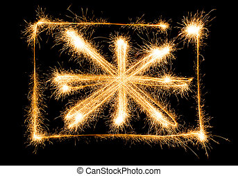 Flag of Great Britain made of sparkles on black
