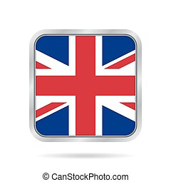 flag of Great Britain, metallic gray square button