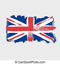 Flag of Great Britain on a gray background.