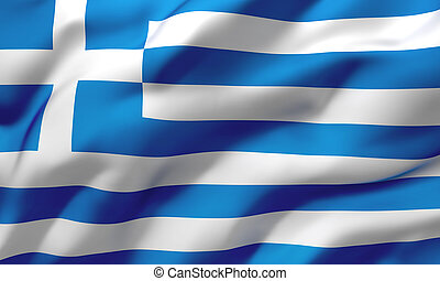 Flag of Greece blowing in the wind
