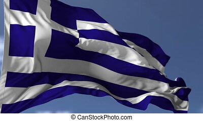 Flag of Greece blowing on the wind, close up looped...