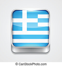 flag of greece - vector 3d style flag icon of greece