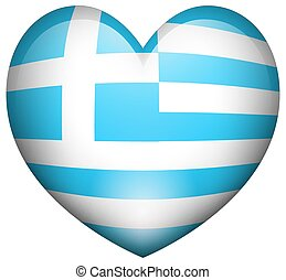 Flag of Greece in heart shape