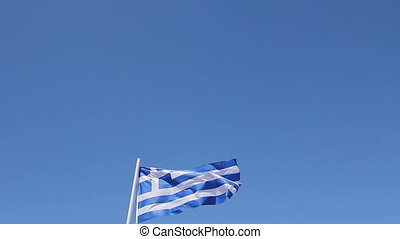 Flag of Greece it flutters on the wind.