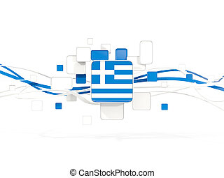 Flag of greece, mosaic background with lines