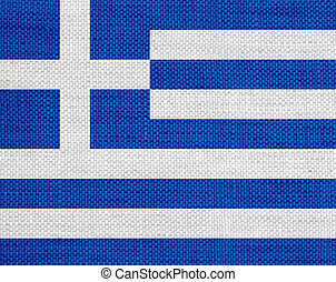 Flag of Greece on old linen