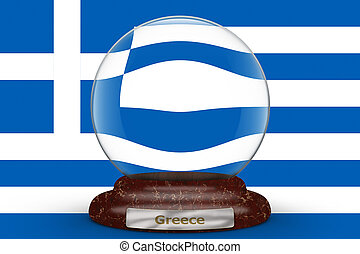 Flag of Greece on snow globe