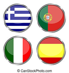 Flag of greece, portugal, italy and spain