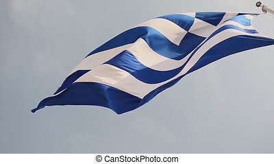 Flag of Greece. Slow Motion