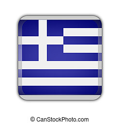 flag of greece, square button on white background