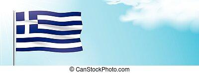 Flag of Greece waving on a blue sky background.