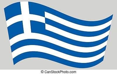 Flag of Greece waving on gray background
