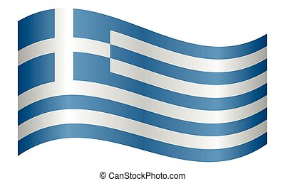 Flag of Greece waving on white background
