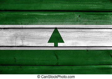Flag of Greenbelt, Maryland, USA, painted on old wood plank background