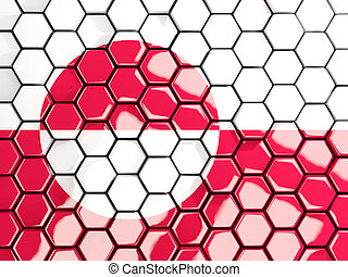 Flag of greenland, hexagon mosaic background