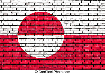 flag of Greenland painted on brick wall