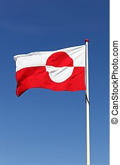 Flag of Greenland waving in the sky
